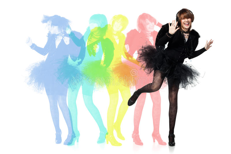 Adolescente da dança no traje do anjo preto fotografia de stock