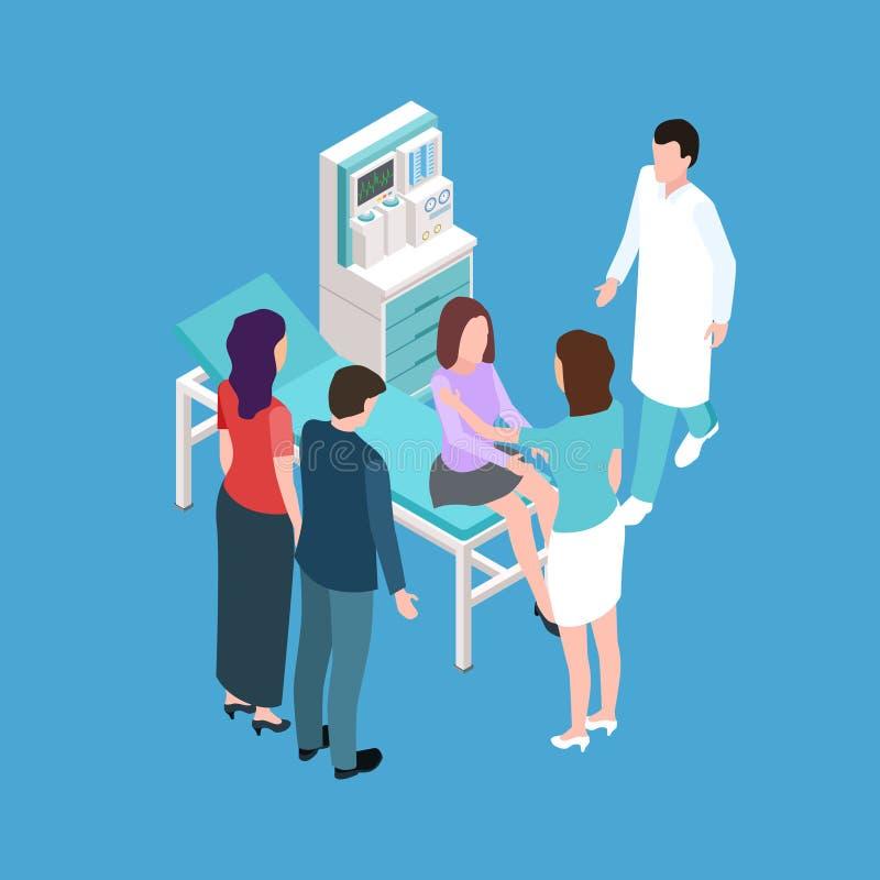 Adolescente da menina na verificação médica acima do vetor isométrico ilustração do vetor