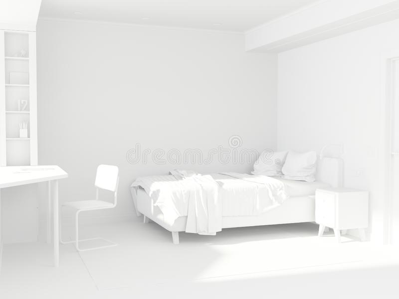 Adolescente da sala branca no estilo escandinavo Projeto da sala ilustração do vetor