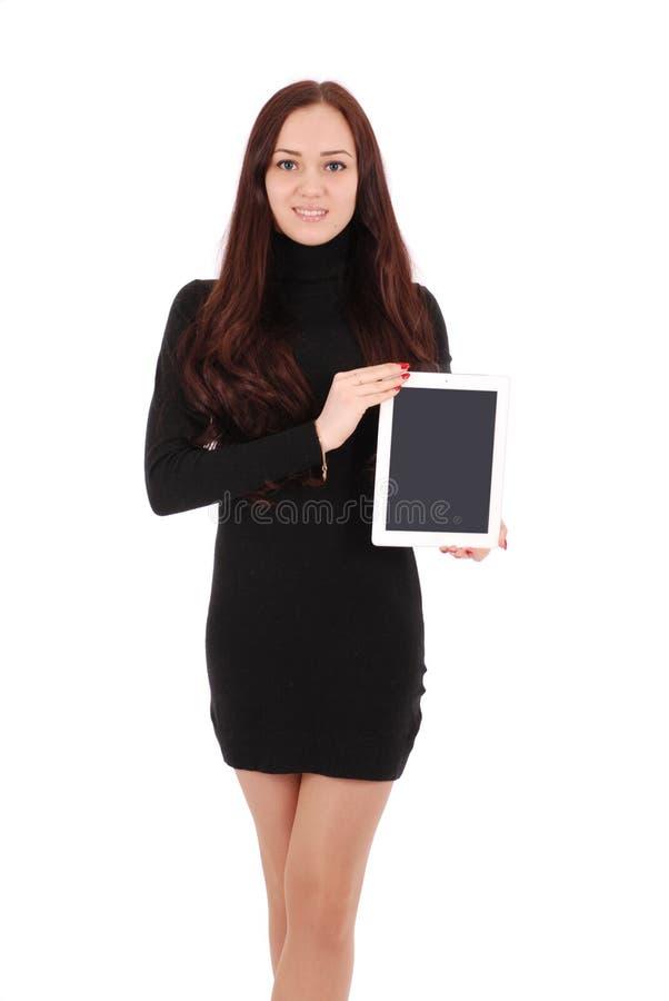Adolescente de sorriso do estudante com PC da tabuleta foto de stock royalty free