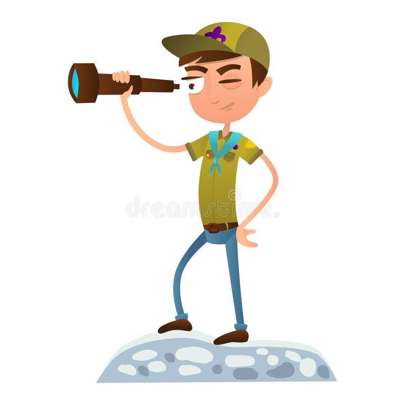 Adolescente del boy scout que mira a través de un telescopio Boy scout en uniforme stock de ilustración