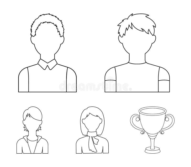 Adolescente del muchacho, mujer con la bufanda, muchacha Los iconos determinados de la colección de Avatar en estilo del esquema  stock de ilustración