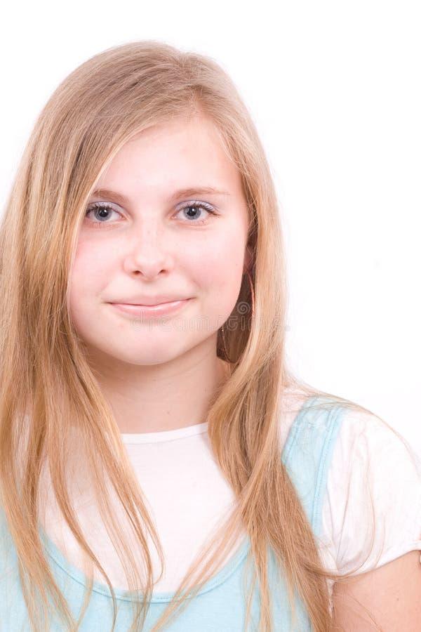 Adolescente della ragazza nel bianco fotografia stock