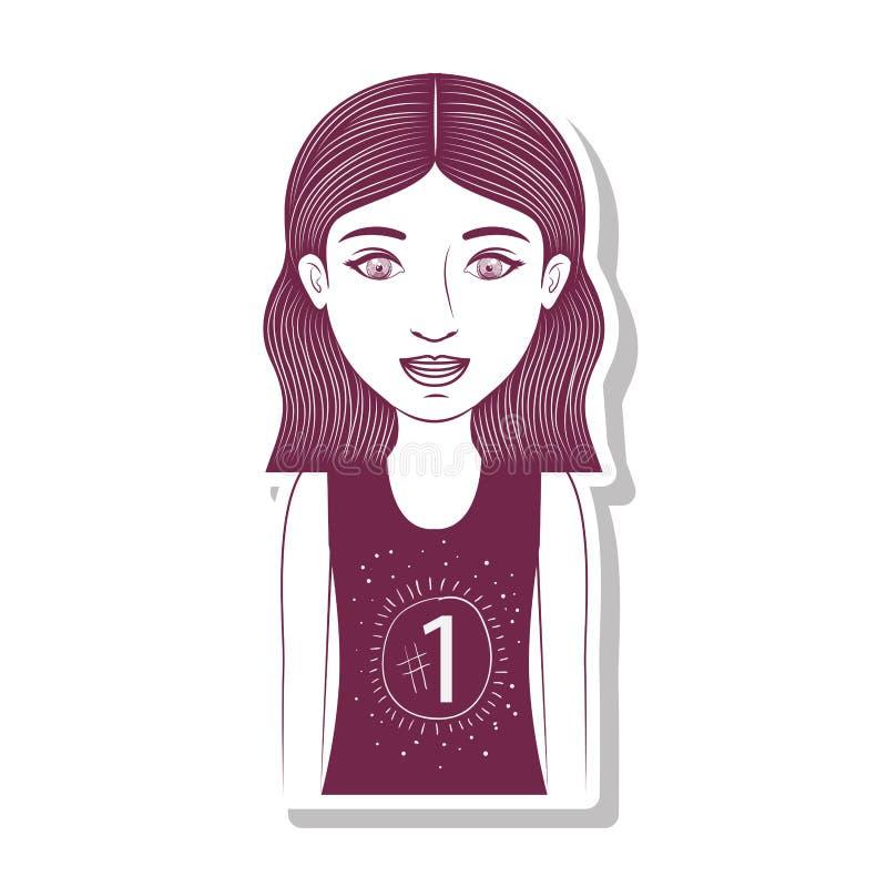 Adolescente della siluetta con brevi capelli ondulati illustrazione vettoriale