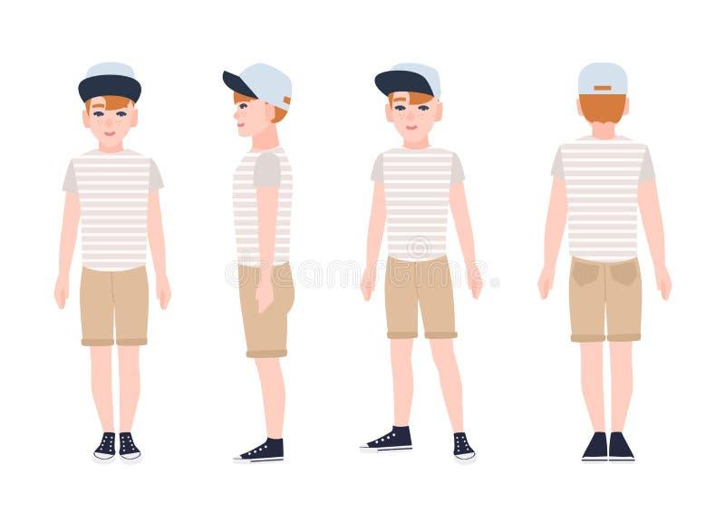 Adolescente della testarossa, cappuccio dell'adolescente o teenager, maglietta, shorts e scarpe da tennis d'uso Personaggio dei c illustrazione vettoriale
