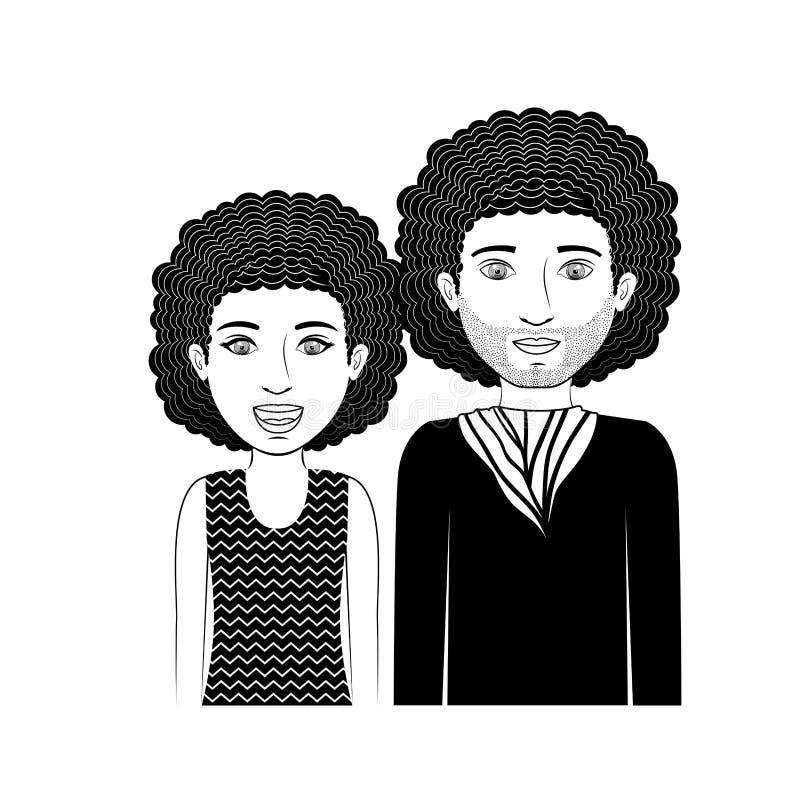 Adolescente delle coppie della siluetta con capelli ricci illustrazione di stock
