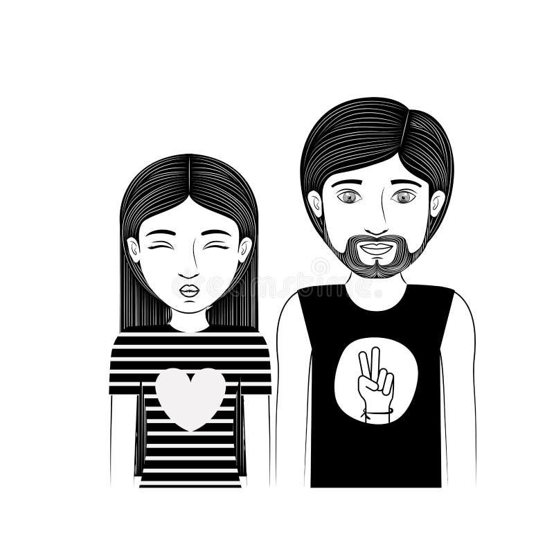 Adolescente delle coppie della siluetta con stile di hippy illustrazione vettoriale