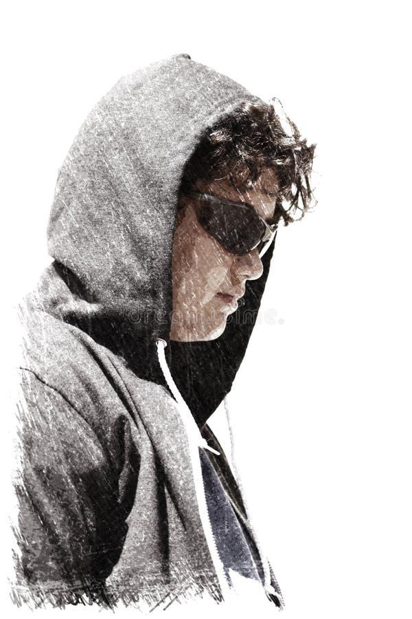 Adolescente disturbato triste del ragazzo di scuola che indossa una maglia con cappuccio - impressione del disegno di carboncino immagini stock libere da diritti