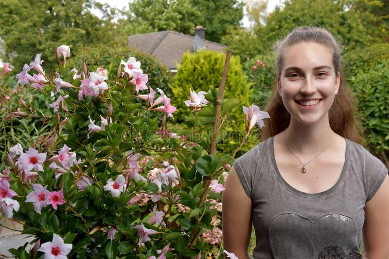 Adolescente e mandevilla cor-de-rosa imagem de stock