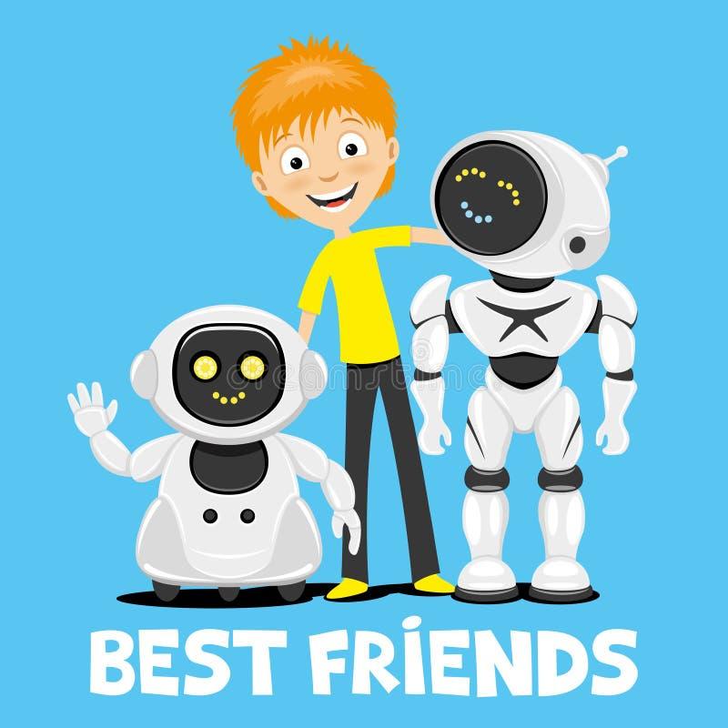 Adolescente e robôs engraçados ilustração royalty free