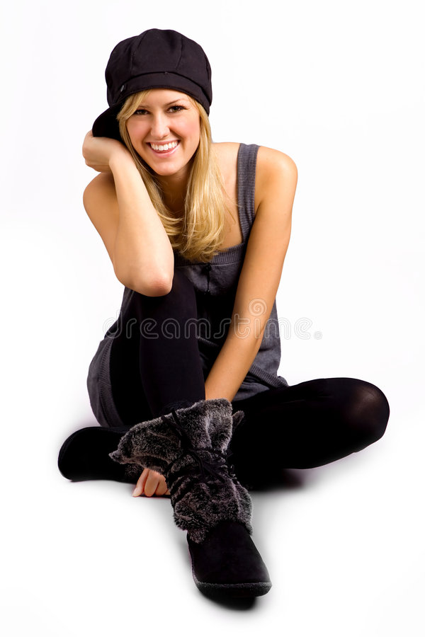 Adolescente elegante no branco fotos de stock royalty free