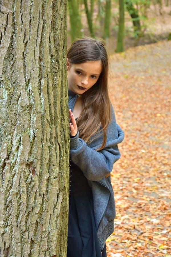 Adolescente en bosque del otoño foto de archivo libre de regalías