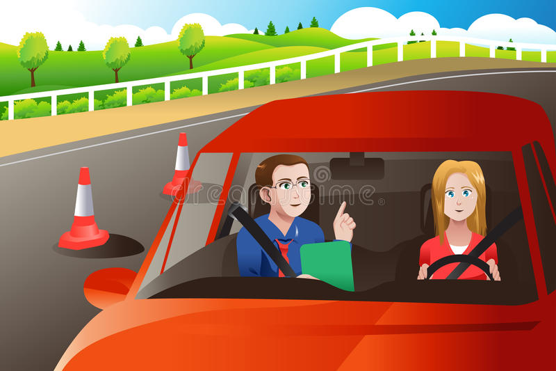 Adolescente en una prueba de conducción del camino libre illustration