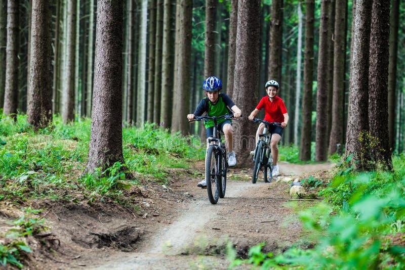 Adolescente et garçon faisant du vélo sur des traînées de forêt images stock