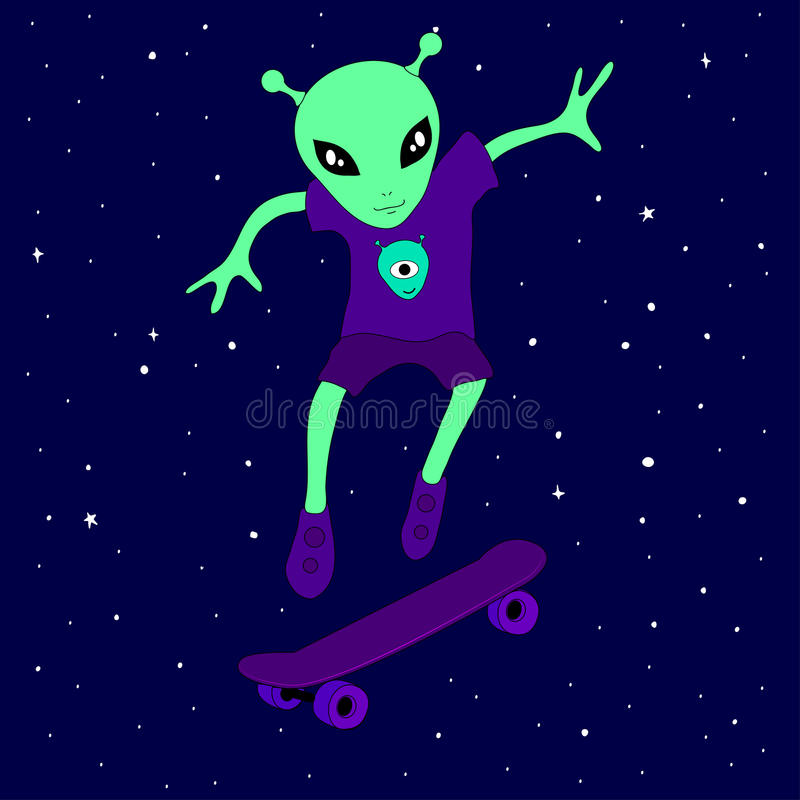 Adolescente extranjero lindo de la criatura que patina en espacio en un monopatín entre las estrellas en un fondo azul ilustración del vector