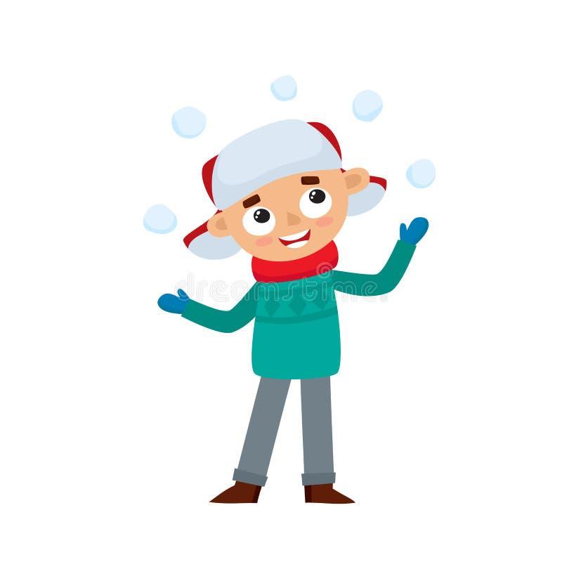 Adolescente felice nell'inverno copre il gioco con le palle di neve, illustrazione di vettore royalty illustrazione gratis