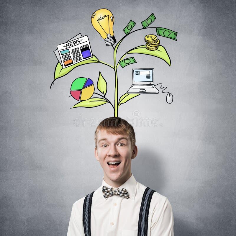 Adolescente feliz com sorriso largo no momento de Eureka imagem de stock