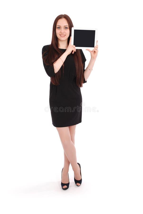 Adolescente feliz do estudante com PC da tabuleta imagem de stock