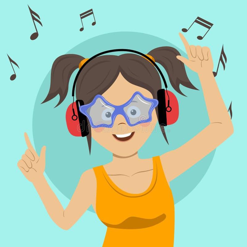 Adolescente feliz joven que canta y que se divierte que escucha la música usando los auriculares inalámbricos libre illustration