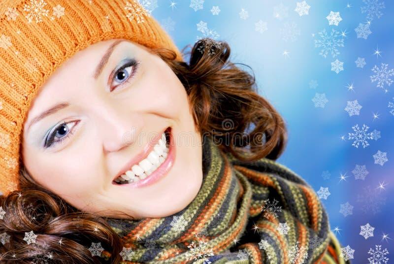 Adolescente feliz no conceito do inverno imagens de stock royalty free