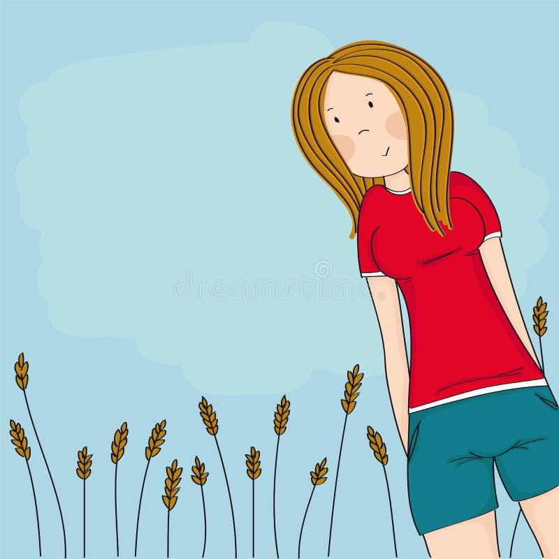 Adolescente feliz que olha para baixo na câmera e que sorri, céu azul atrás dela, está estando na frente do campo de milho ilustração royalty free