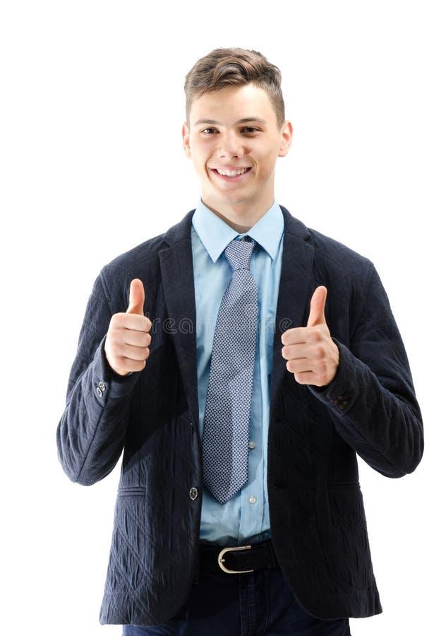 Adolescente feliz que señala MUY BIEN con sus manos aisladas en el CCB blanco foto de archivo
