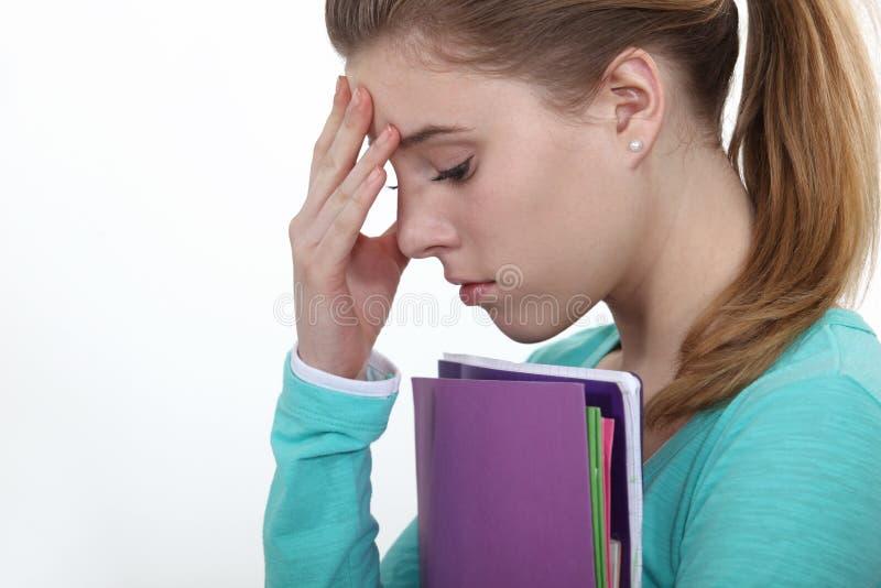 Adolescente femenino subrayado imagen de archivo libre de regalías