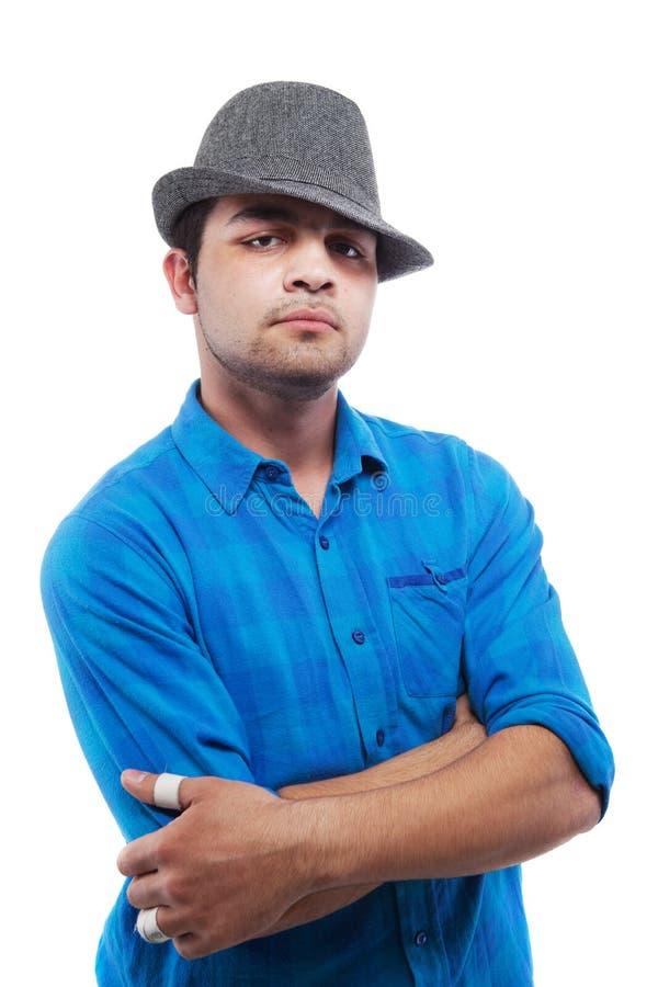 Adolescente fresco com um chapéu - isolado imagem de stock royalty free