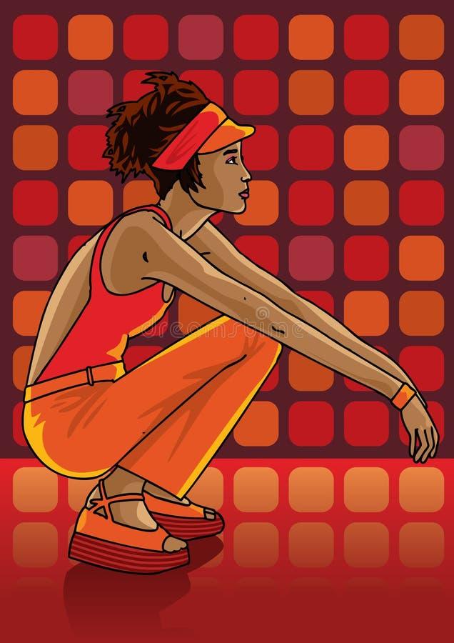 Adolescente hermoso que se relaja en un club libre illustration