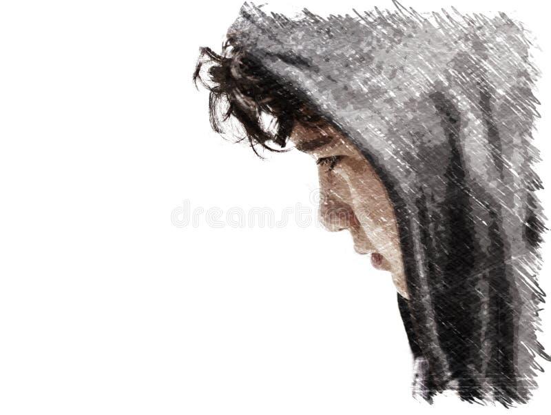 Adolescente incomodado triste do menino de escola que veste um hoodie que levanta e que pensa em seus próprios pensamentos - esbo ilustração stock