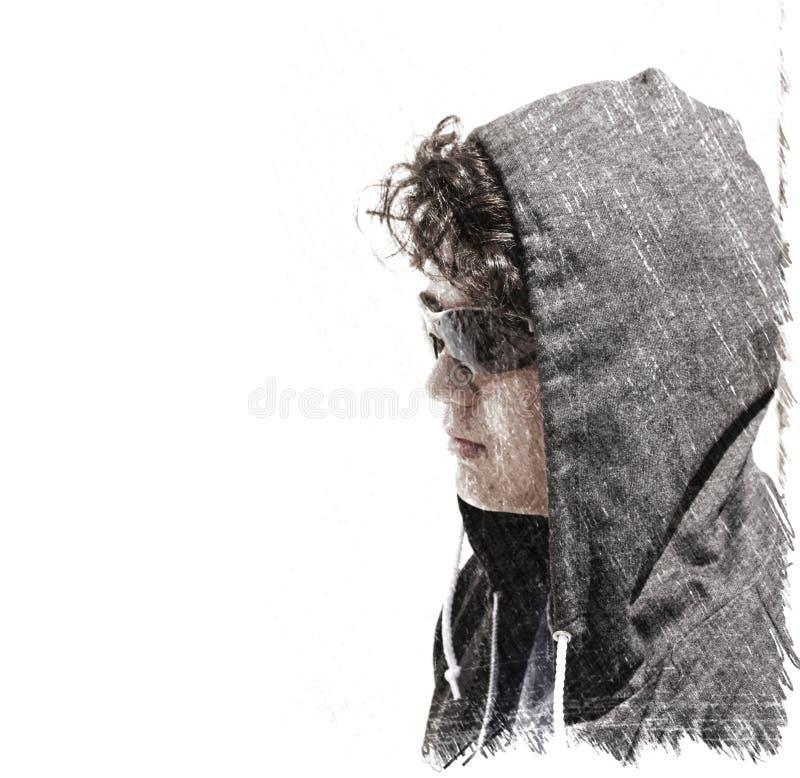 Adolescente incomodado triste do menino de escola que veste uma capa - impressão de tiragem imagens de stock