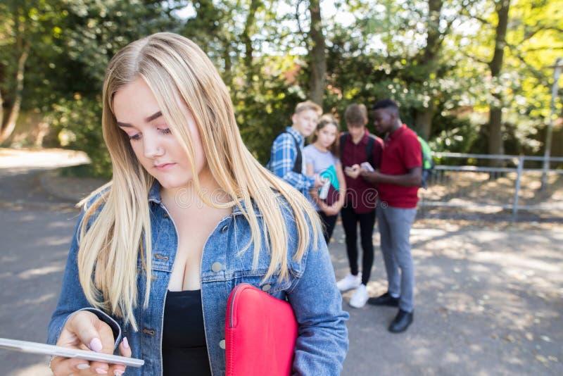Adolescente infeliz que es tiranizado por el mensaje de texto en la escuela fotografía de archivo