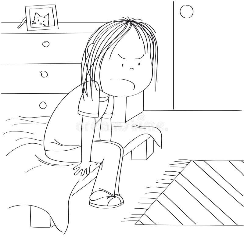 Adolescente irritado e infeliz que senta-se na cama em sua sala de crianças, pensando sobre a injustiça de sua vida adolescente ilustração stock