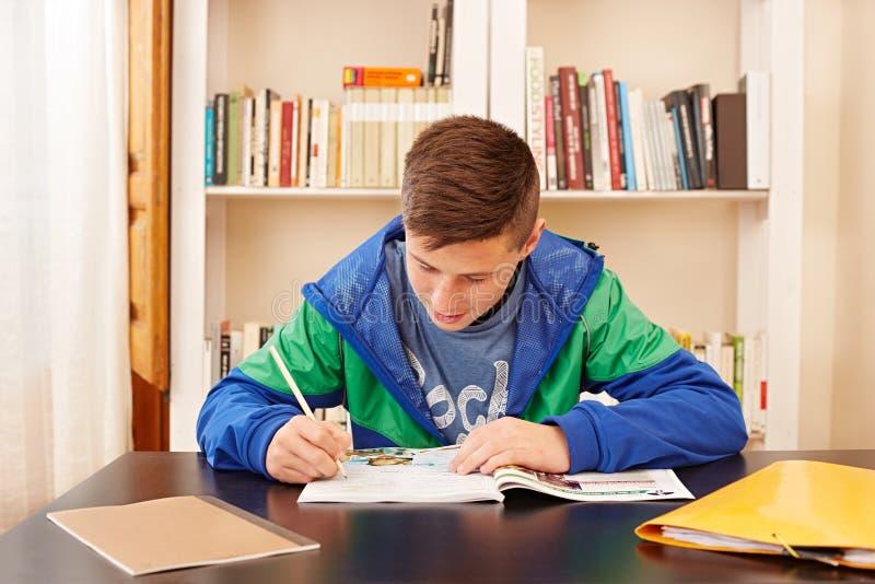 Adolescente masculino concentrado fazendo trabalhos de casa fotos de stock royalty free