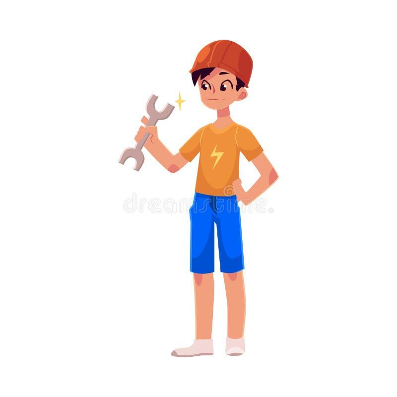 Adolescente no capacete alaranjado do construtor que guarda uma chave ilustração royalty free