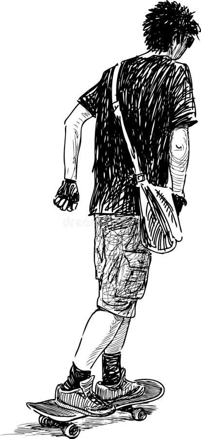 Adolescente no skate ilustração do vetor