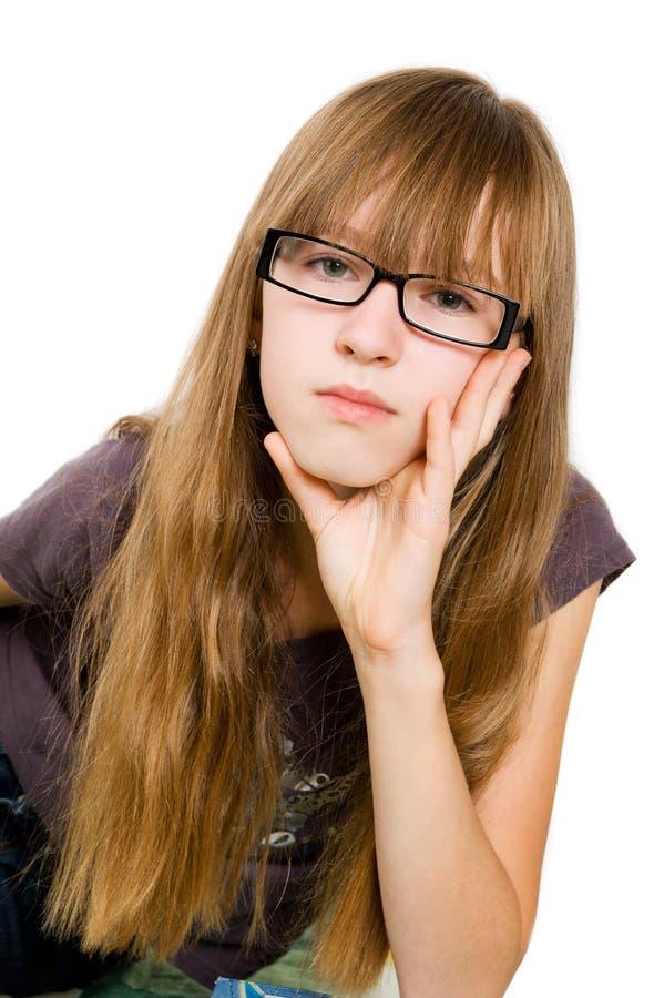 Adolescente nos vidros fotos de stock royalty free