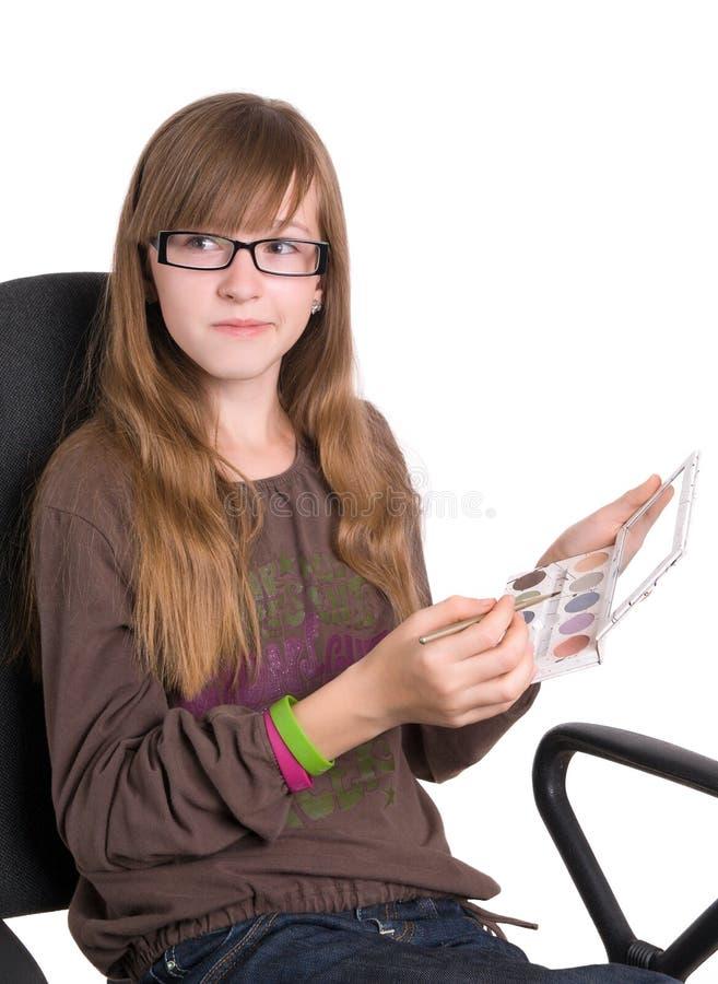 Adolescente nos vidros imagem de stock