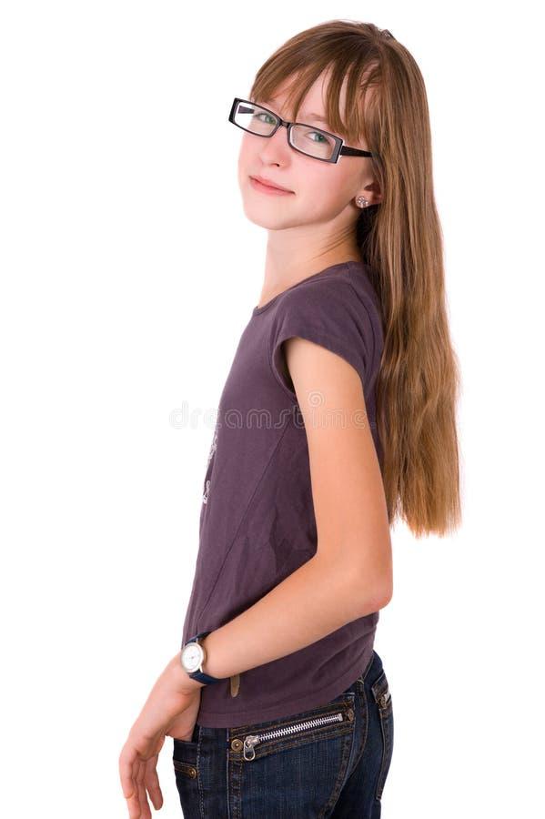 Adolescente nos vidros fotos de stock