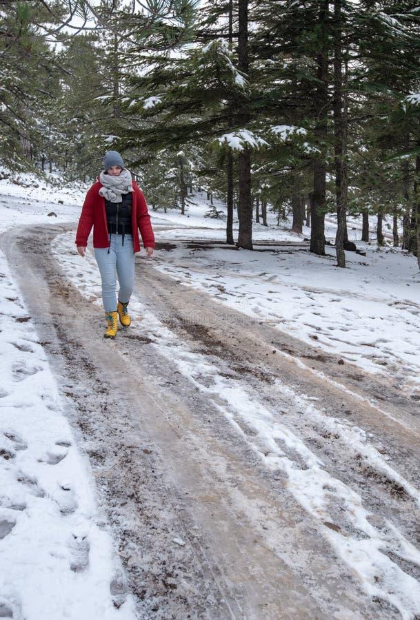 Adolescente novo que anda em uma estrada congelada em montanhas de Troodos em Chipre fotografia de stock