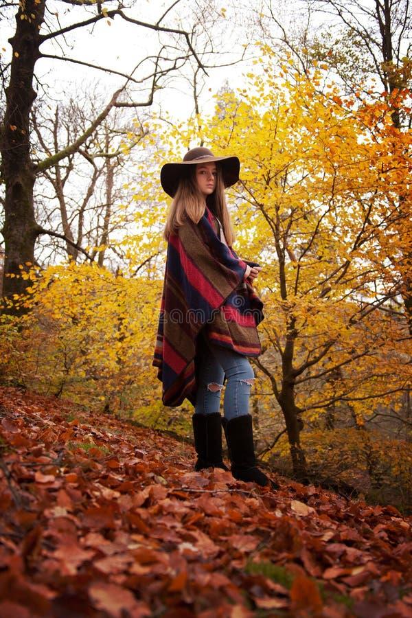 Adolescente novo que está em uma floresta no outono fotografia de stock