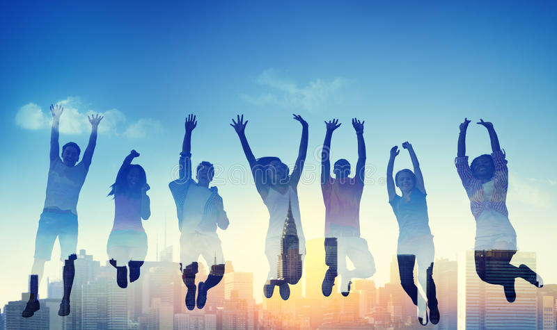 Adolescente ocasional Team Success Winning Concept da diversidade fotos de stock