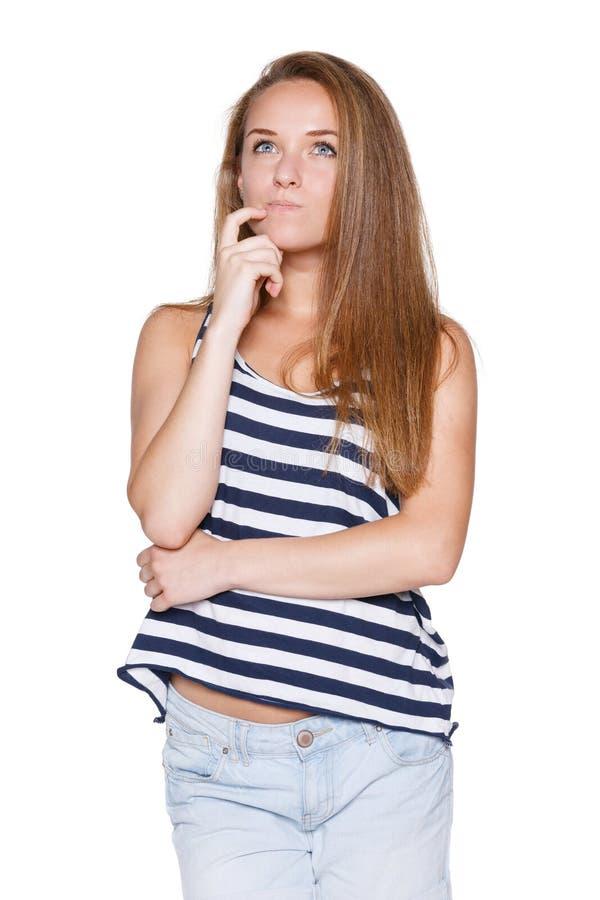 Adolescente pensativo de la muchacha imagenes de archivo