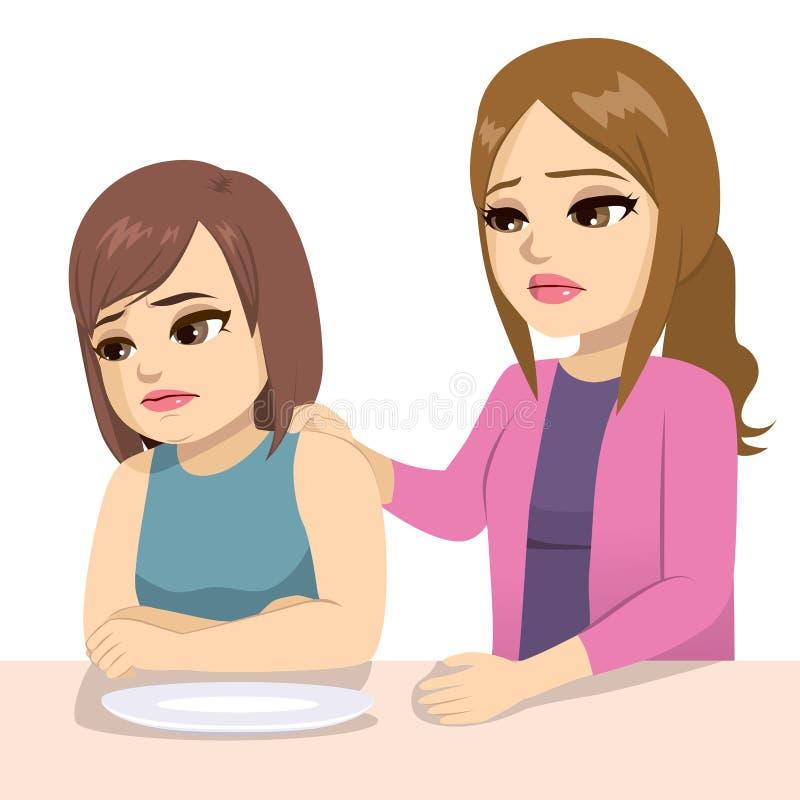 Adolescente preocupado da mãe que come a edição ilustração do vetor
