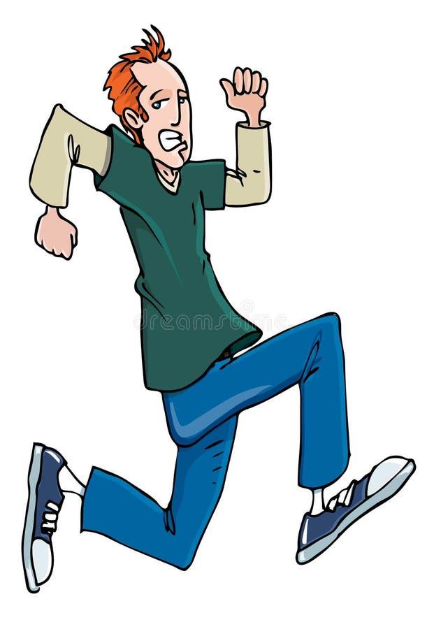 Adolescente principal rojo de la historieta que se ejecuta en zapatillas de deporte ilustración del vector