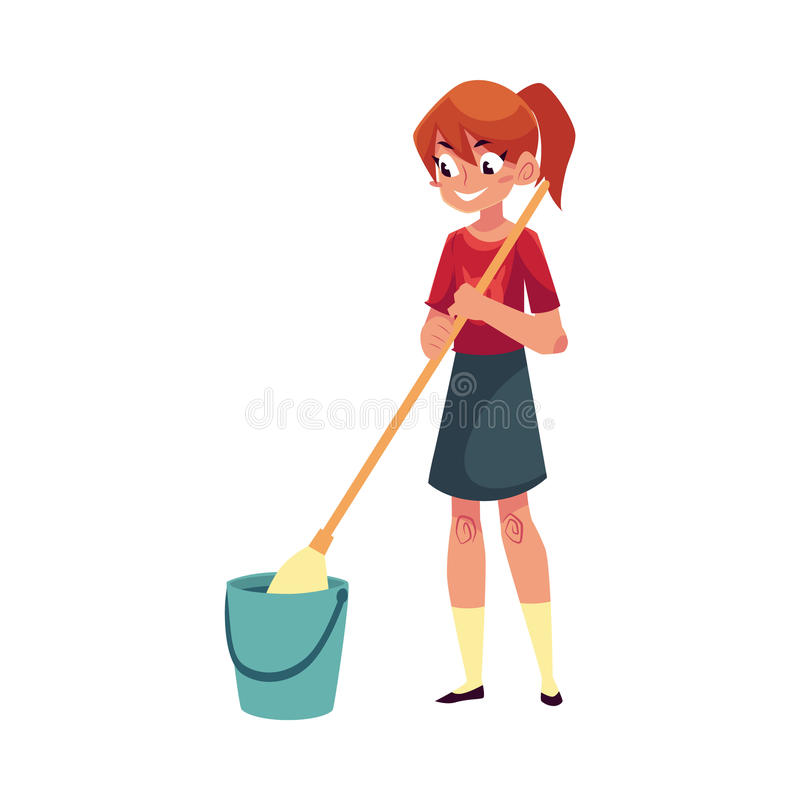 Adolescente que ayuda a limpiar la casa pisos que se - Limpiar la casa ...