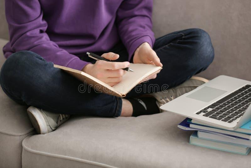 Adolescente que faz lições em casa foto de stock royalty free