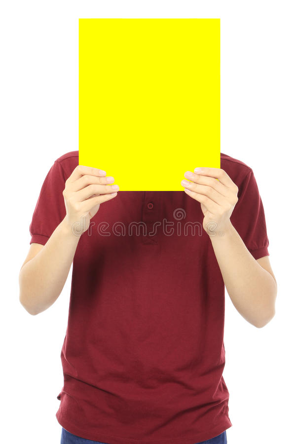 Adolescente que guarda o quadro indicador vazio fotografia de stock