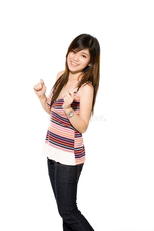 Adolescente que sorri excitedly fotografia de stock
