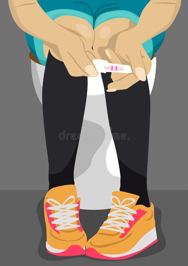 Adolescente tenant l'essai de grossesse avec deux rayures dans la salle de bains illustration stock